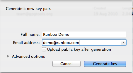 Creating a Key Pair with GPGTools on OS X   Runbox Help