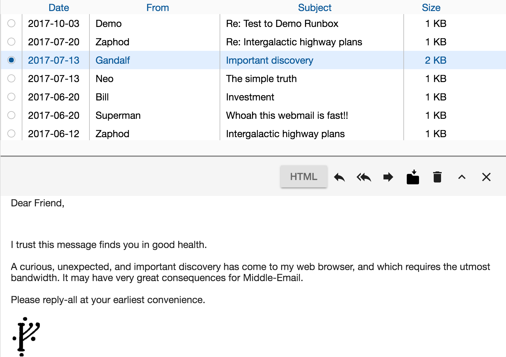 Runbox 7 Webmail Preview Pane